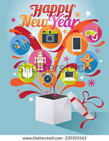 Gift Box with Happy New Year Text and Various Icons - stock vector
