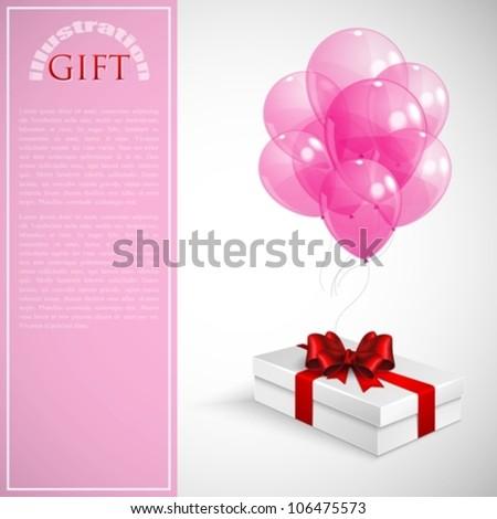 gift box with red bow and bunch of pink transparent balloons - stock vector