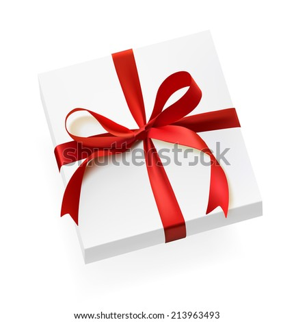 Gift box with red bow isolated on white background. Detailed vector illustration. Realistic. Print quality. - stock vector