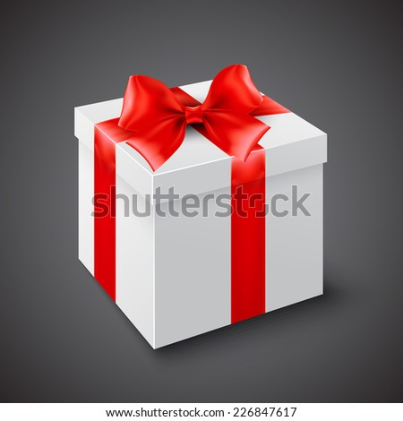 Gift box with red ribbon. Vector illustration - stock vector
