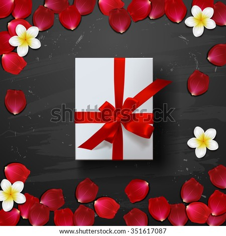 gift box with red rose petals . valentine`s card background - stock vector