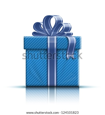 Gift box with ribbon and bow. Vector illustration - stock vector