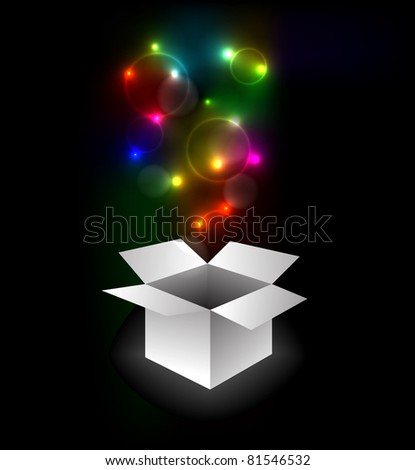 Gift box with surprise - Abstract illustration full of colors - stock vector