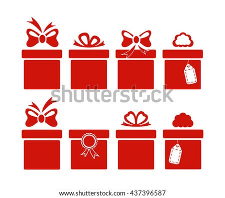 Gift boxes icons isolated on white background. Vector illustration. - stock vector