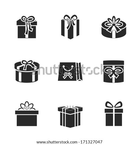 Gift boxes icons set with different ribbons and bows isolated vector illustration - stock vector