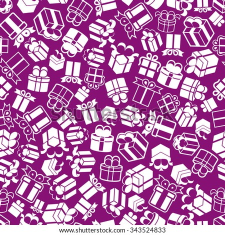 Gift boxes seamless background, purple vector icon set, elements easy to use separately as icons. - stock vector