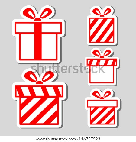 Gift boxes stickers set - stock vector