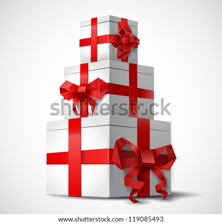 Gift boxes with origami bows - vector illustration. - stock vector