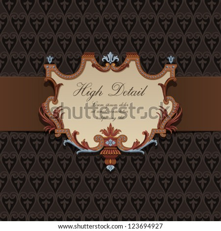 Gift Card Design in Vintage style. Floral pattern.  Retro background. Wallpaper. Chocolate package. Copyspace. Vector. - stock vector