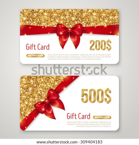 Gift Card Design with Gold Glitter Texture and Red Bow. Invitation Decorative Card Template, Voucher Design, Holiday Invitation. Glowing New Year or Christmas Backdrop. Certificate for Shopping. - stock vector
