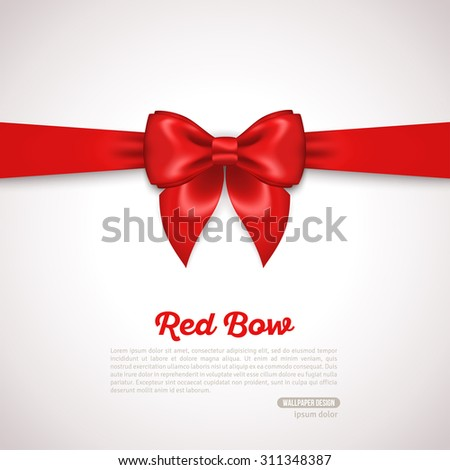 Gift Card Design with red Bow with Place for Text. Vector Illustration. Invitation Decorative Card Template, Voucher Design, Holiday Invitation Design.  - stock vector