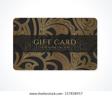 Gift card (discount card, business card, Gift coupon, calling card) with gold floral (scroll), swirl pattern (tracery). Black background design for calling card, voucher, invitation, ticket. Vector - stock vector