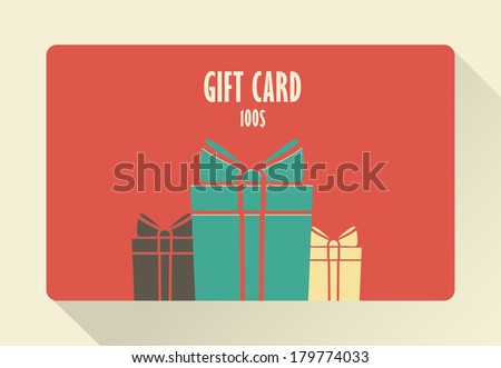 Gift Card. Flat style. - stock vector