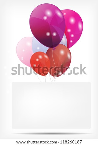 Gift card with balloons vector illustration - stock vector