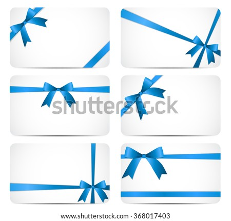Gift Card with Blue Ribbon and Bow. Vector illustration EPS10 - stock vector