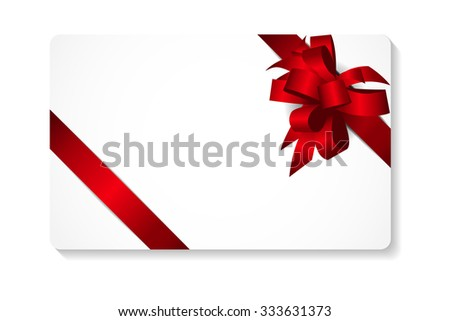 Gift Card with Bow and Ribbon Vector Illustration EPS10 - stock vector