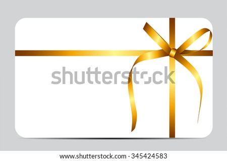 Gift Card with Gold Ribbon and Bow. Vector illustration EPS10 - stock vector