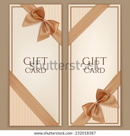 Gift card with golden ribbon and a bow. Gift voucher template. Vector illustration - stock vector