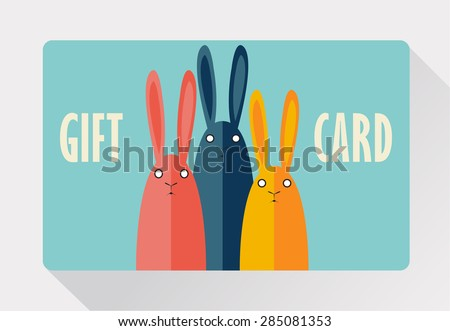 Gift Card with rabbits.  - stock vector
