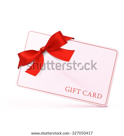 Gift card with red bow and ribbon. Vector illustration - stock vector