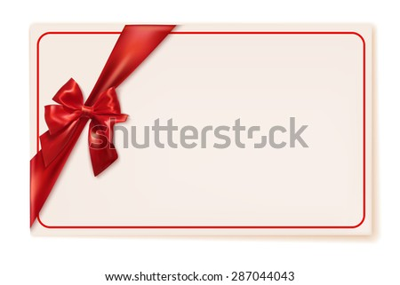 Gift card with red ribbon and bow on a white background. Vector illustration - stock vector