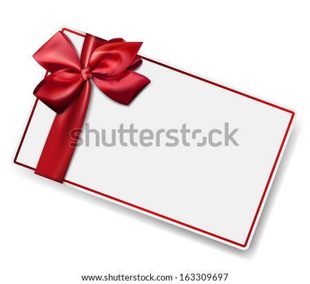 Gift card with ribbon and satin red bow. Vector illustration.  - stock vector