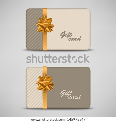 Gift card with stripes and bow - stock vector