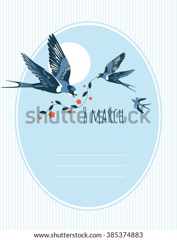 gift card with swallows - stock vector