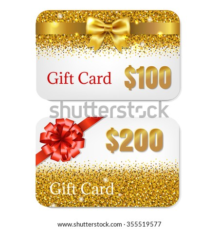 Gift Cards Set With Gradient Mesh, Vector Illustration - stock vector