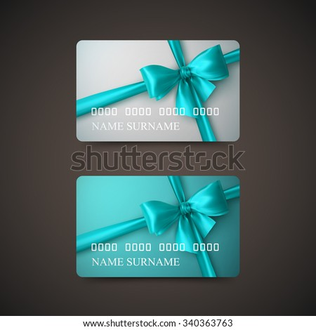 Gift Cards With Azure Bow And Ribbon. Vector Illustration. Gift Or Credit Card Design Template - stock vector