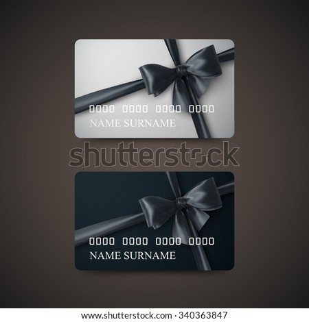 Gift Cards With Black Bow And Ribbon. Vector Illustration. Gift Or Credit Card Design Template - stock vector