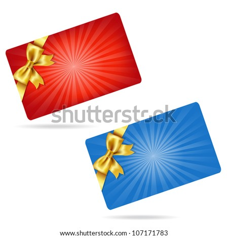 Gift Cards With Gift Golden Bows, Isolated On White Background, Vector Illustration - stock vector