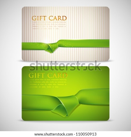 gift cards with green ribbons - stock vector