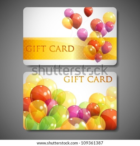 gift cards with multicolored balloons - stock vector