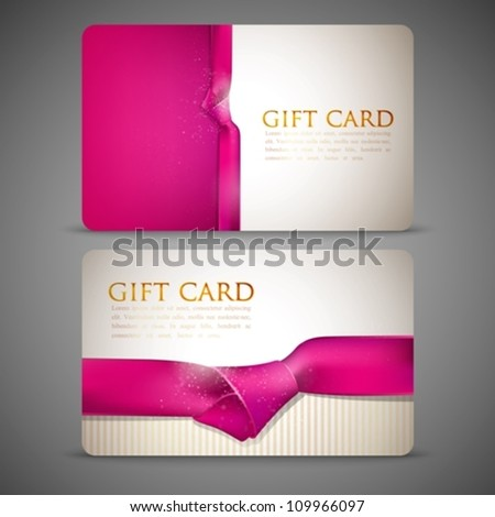 gift cards with pink ribbons - stock vector