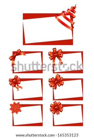 Gift Cards with Ribbons - stock vector