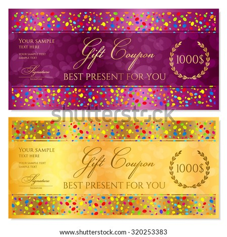 Gift certificate, Coupon, Voucher, Reward or Gift card template with bright confetti (colorful particles, circles). Gold background design for gift banknote, check, gift money bonus, flyer, banner  - stock vector