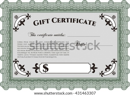 Gift certificate. Detailed. Easy to print. Nice design.  - stock vector
