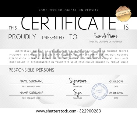Gift certificate / diploma / award template of computer programming course completion on paper with watermark protection in vector - stock vector