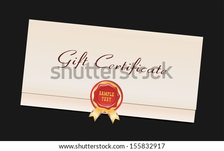 Gift Certificate isolated on black - stock vector