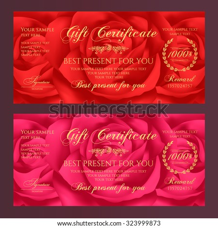Gift certificate, Voucher, Coupon, Reward / Gift card template with red rose (flowers pattern). Floral feminine background design set for gift banknote, check, gift money bonus, ticket, flyer, banner - stock vector