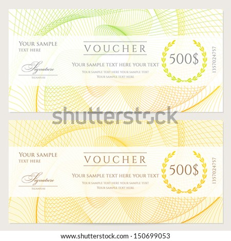Gift certificate, Voucher, Coupon template with colorful (rainbow) guilloche pattern (watermark). Background for banknote, money design, currency, note, check (cheque), ticket, reward. Vector - stock vector