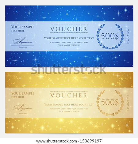Gift certificate, Voucher, Coupon template with sparkling, twinkling stars. Night sky background design for invitation, banner, ticket. Vector in gold, blue color - stock vector