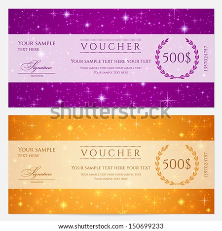 Gift certificate, Voucher, Coupon template with sparkling, twinkling stars. Night sky background design for invitation, banner, ticket. Vector in orange, blue violet - stock vector