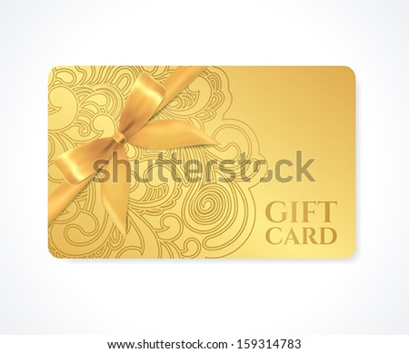 Gift coupon, gift card (discount card, business card) with floral (scroll, swirl) gold swirl pattern (tracery), bow (ribbon). Holiday background design for invitation, ticket. Vector - stock vector