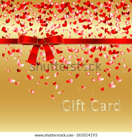Gift coupon, gift card with heart pattern confetti and red ribbon bow. Background design for Invitation, ticket, voucher. - stock vector