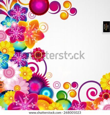 Gift festive floral design background. - stock vector