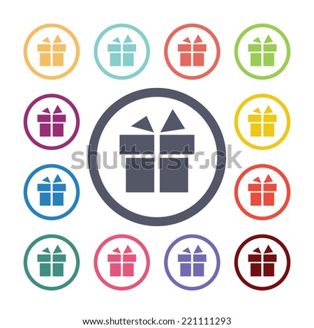 gift flat icons set. Open round colorful buttons. Vector  - stock vector