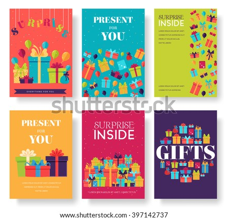 Gift information cards set. Surprise template of flyear, magazines, posters, book cover, banners. Box infographic concept  background. Layout illustrations modern pages with typography text - stock vector
