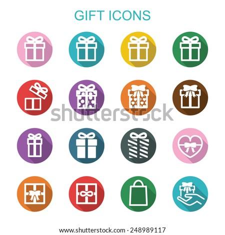 gift long shadow icons, flat vector symbols - stock vector